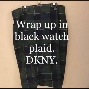 DKNY Blackwatch Plaid Wrap Skirt